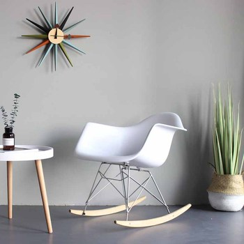 Solid Wood Modern Minimalist Casual Chaise Lounge Chair Plastic Rocking Chair Nordic Lazy Sofa Backrest Stool Home Furniture