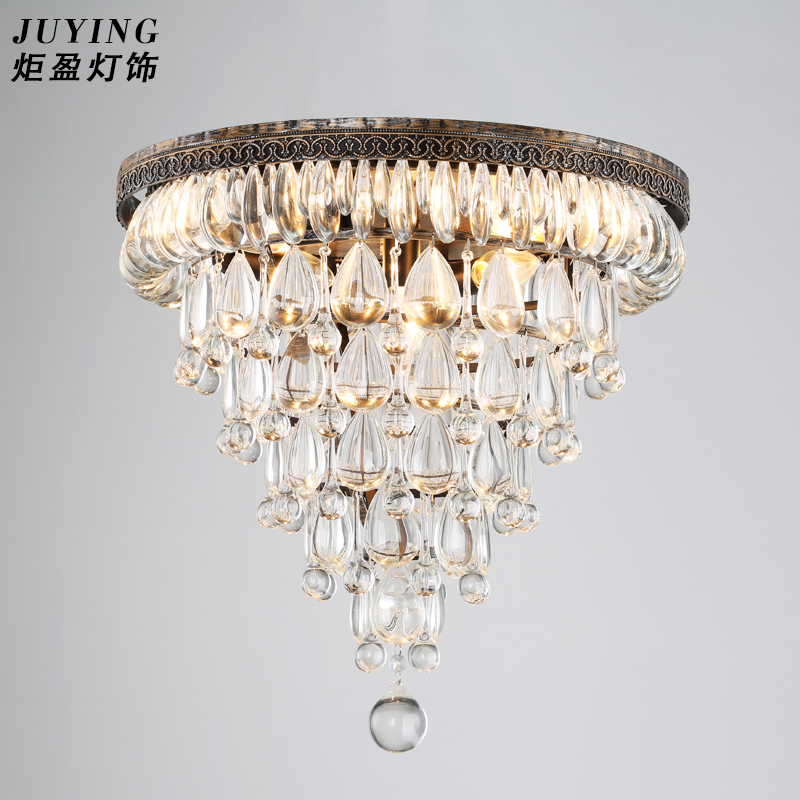 North European style luxury country industrial cone retro crystal conical drop shaped iron crystal chandeliers diameter 50cm