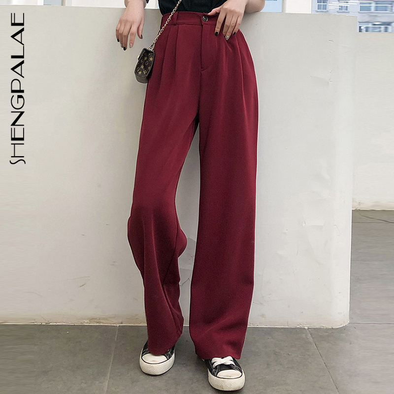 SHENGPALAE Hot Solid Casual Loose Straight Women Empire Fresh 2020 Fashion High Waist Summer Free Texture Simple Trousers ZA4036
