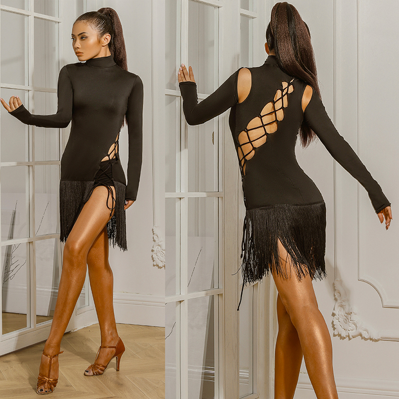 Sexy Latin Dance Dress Fringe Dress Female Tassel Skirts Ballroom Competition Costumes Straps Latin Dress With Underwear DQS2922
