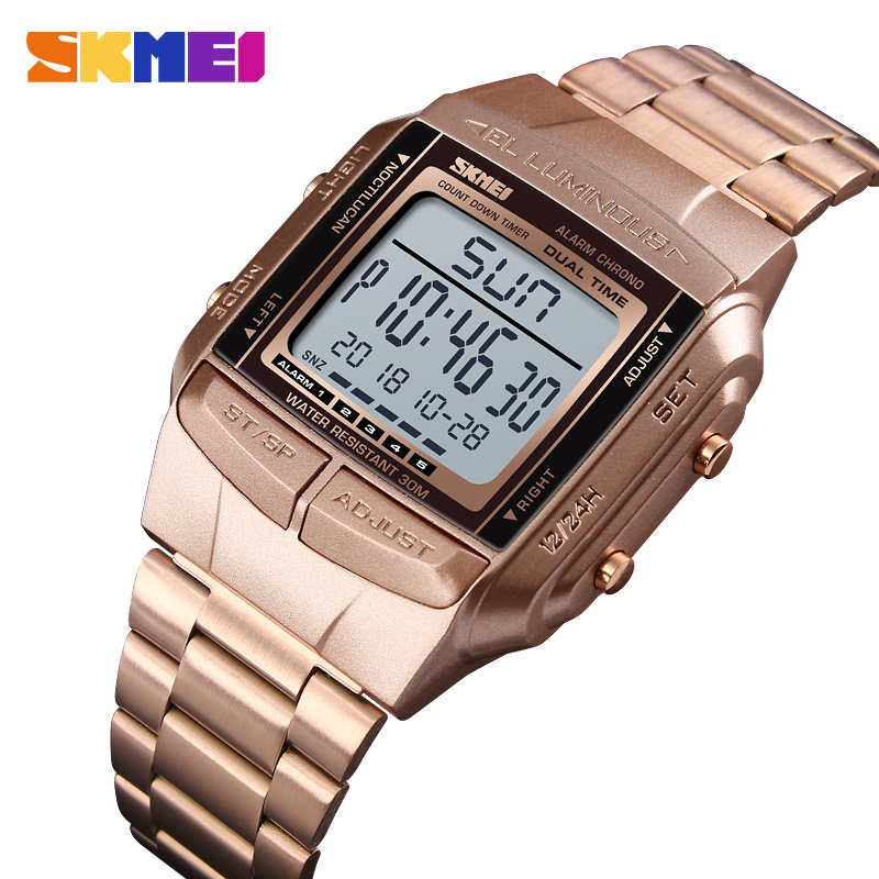 SKMEI Waterproof LED Digital Watch Military Sports Watches Electronic Mens Fashion Business Steel Clock 1381