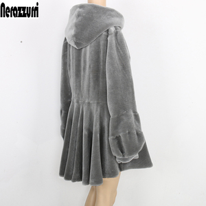 Image 2 - Nerazzurri real fur coat women with hood long sleeve lantern sleeve genuine fur coats gray red plus size sheep shearling jacket