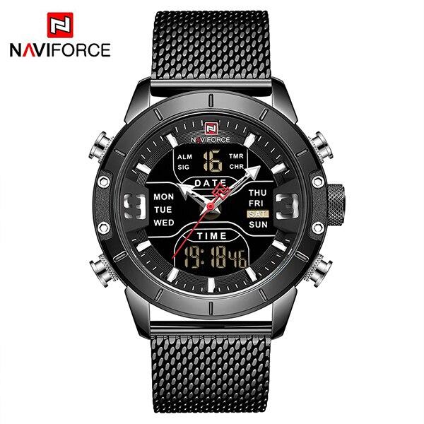 NAVIFORCE Watch Men Sports Quartz Watches Top Luxury Brand Stainless Steel Waterproof LED Digital Wristwatch  Relogio Masculino