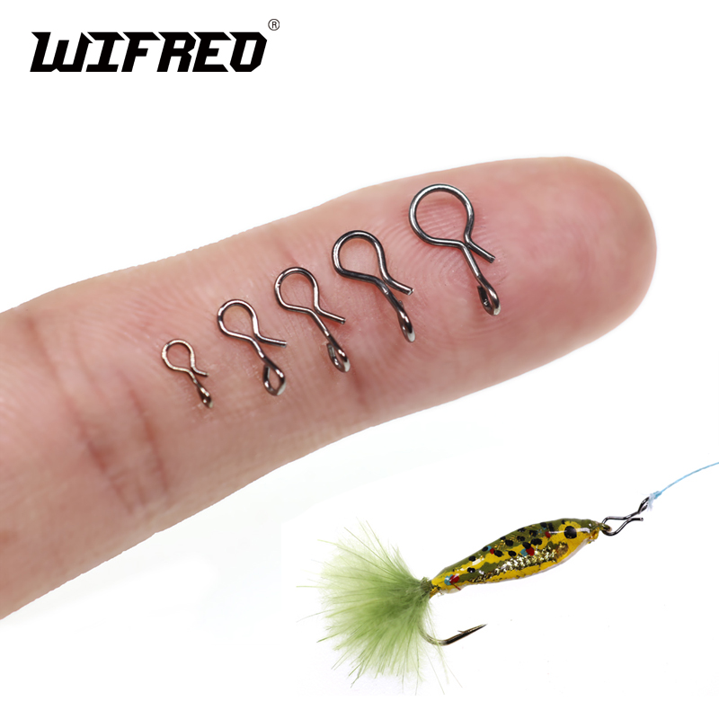 Wifreo 50PCS/bag Fly Fishing Snap Quick Change For Flies Hook Lures Stainless Steel Lock Black Fishing Snaps Lures Clip Link