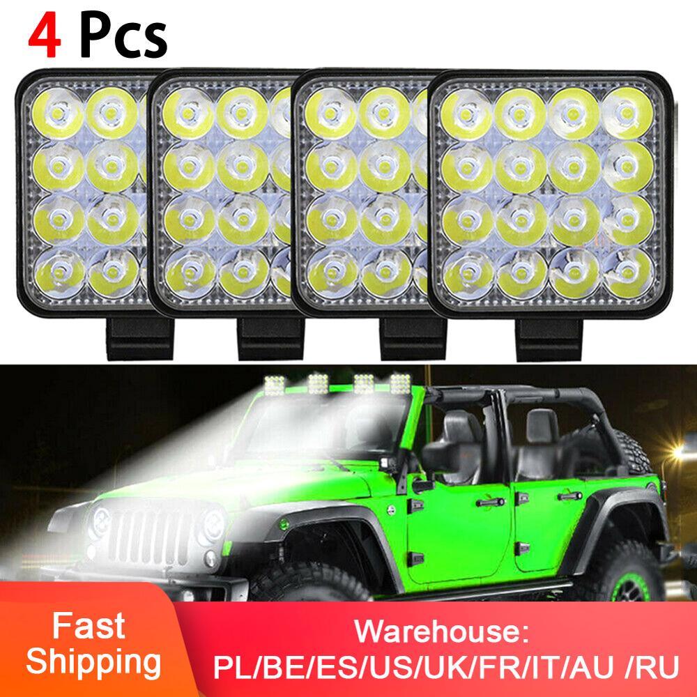 4pcs Square Work LED Light Bar 12V Spot 48W Car Light 1000LM 6000K Truck Tractor Off-road Spot Light ATV led SUV DRL Fog Lamp