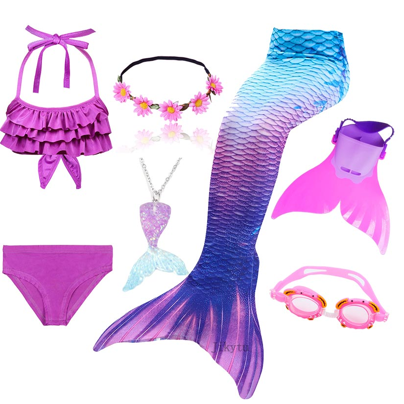 Children's Swimsuit Mermaid Tail For Girls Swimming Mermaid Costume Anime Cosplay Can Add Monofin Flipper Goggle With Garland