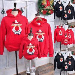 Família de natal combinando roupas dos homens das mulheres crianças hoodie manga comprida com capuz pulôver camisola jumper topo outono jumper