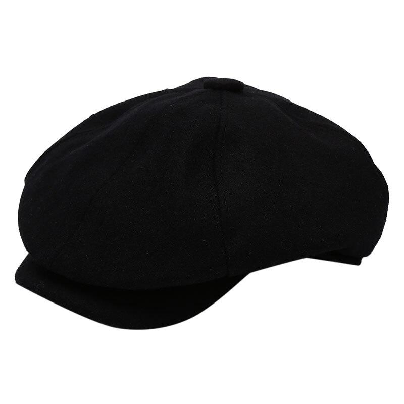 Мужская саржевая хлопковая восьмипанельная шляпа женские Бейкер кепки для мальчиков ретро большие шляпы мужские черные берет газетчика кепки - Цвет: black