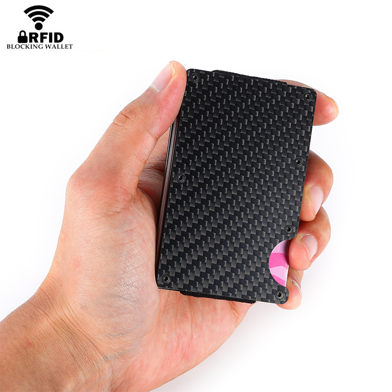 YAMBUTO New Arrivals Men Fashion Carbon Fiber Credit Card Holder Minimalist Clutch Wallet Aluminum Metal RFID Mini Pocket Purse