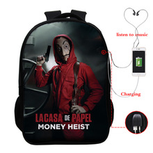 New  USB multi-function backpack casual student bag travel outdoor unisex 16 inch