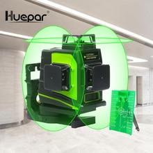 Huepar Nivel láser de línea cruzada 3D, 12 líneas, autonivelante, 360 grados, Cruz Vertical y Horizontal, línea de haz rojo verde, carga USB