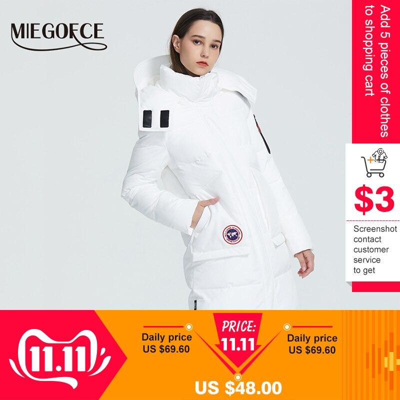 Miegofce 2019 novo casaco de inverno parka solto corte comprimento abaixo do joelho jaqueta com bolsos estilo casual gola resistente com capuz