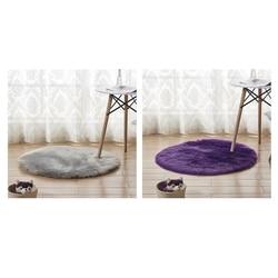 Promocja! 2 sztuk Faux kożuch wełny okrągły dywan 30X30 Cm puszyste miękkie Longhair dekoracyjny dywan poduszki krzesło Sofa Mat, Purp