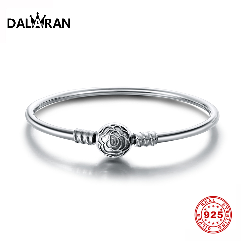 DALARAN 925 Sterling Silver Bracelet Smooth Rose Round Mouth Chain Bangle For Women Charms Silver 925 Original Making Gift