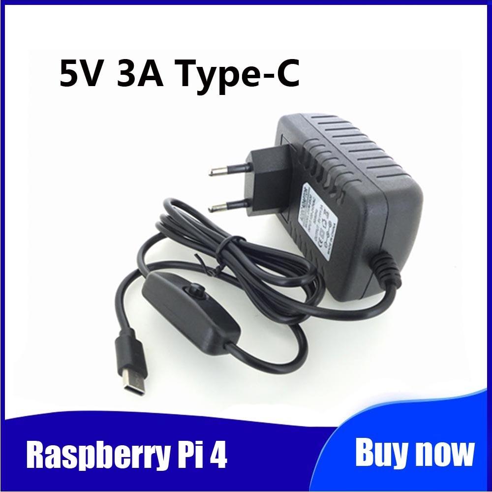 Raspberry Pi 4 alimentation 5V 3A type-c adaptateur secteur avec interrupteur marche/arrêt ue US AU royaume-uni USB-C chargeur pour framboise