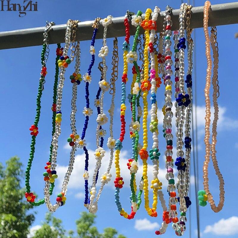HangZhi 2020 nouveau coréen doux coloré petite marguerite acrylique fleurs Boho perlé clavicule colliers pour femmes filles bijoux