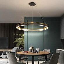 Círculo nórdico led lustre retângulo design interior engenharia iluminação linha pendurado preto + anel de ouro pingente lâmpada luminárias