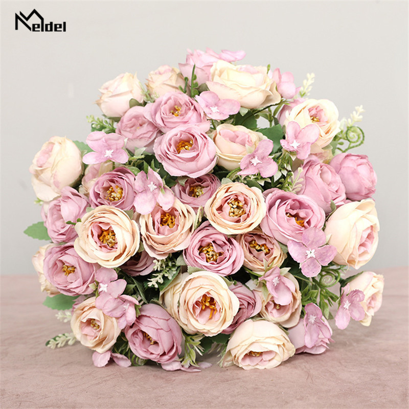 Bouquet Artificial-Flowers Roses Wedding-Decoration Bridesmaids Silk Flores 10-Heads