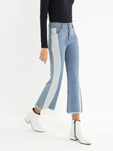 jeans woman streetwear street style flare pants denim Tassel Bleached Panelled Spliced Mid waist Cotton 2019 new