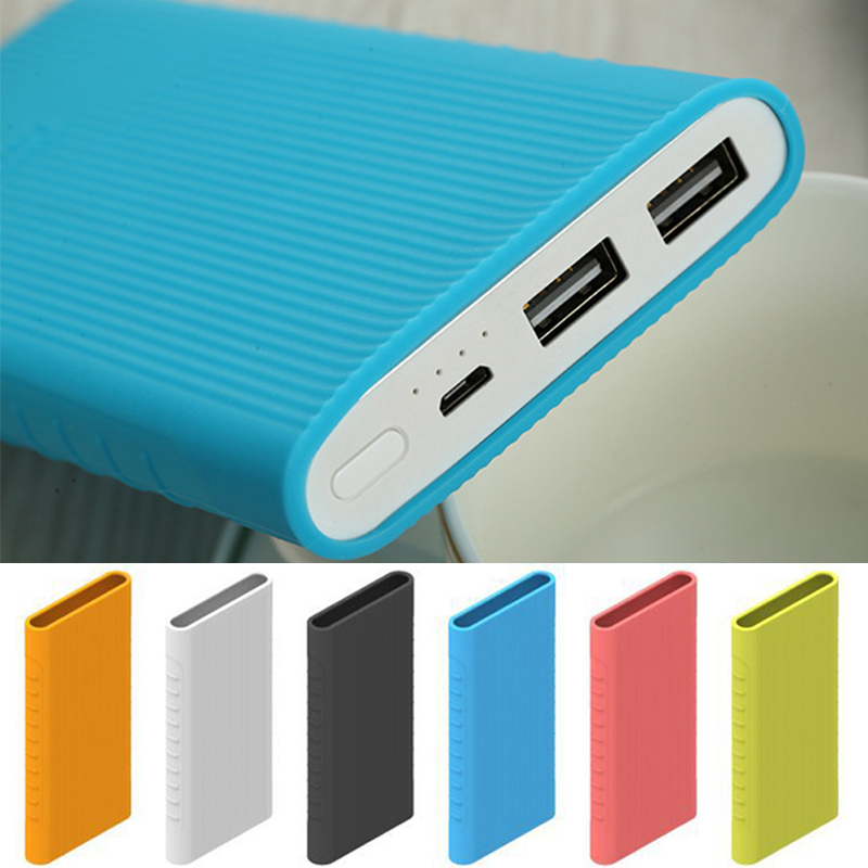 Protector Case Cover For New Xiaomi Power Bank 2 10000 MAh Dual USB Port Silicon Skin Shell Sleeve For Power Bank Model PLM09ZM
