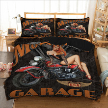 Motorcycle Sexy Beauty Garage Bedding sets 3D print Duvet Cover pillowcase 3pcs Twin queen king size bedclothes