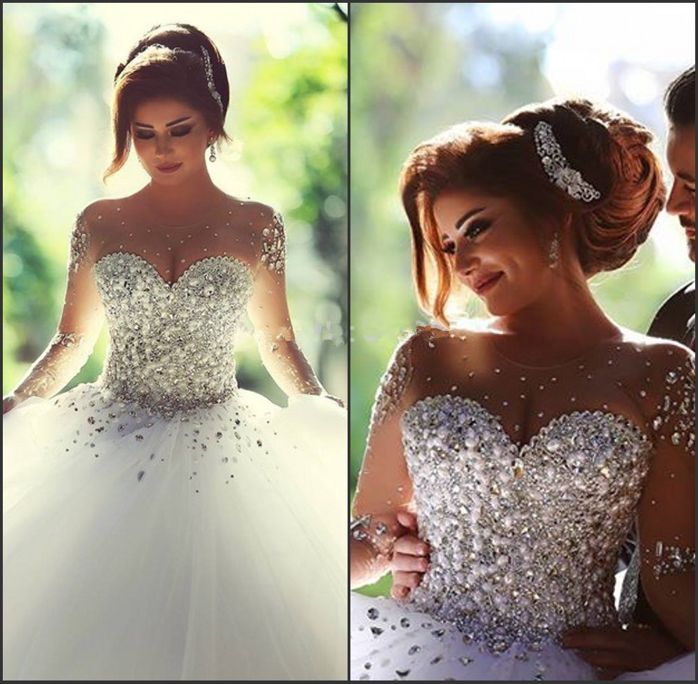 Said Mhamad Ball Gown Wedding Dress 2018 Vestidos De Noiva Sheer Sleeves Bridal Gowns With Crystals Sweet Wedding Party Gowns