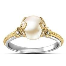 New Crystal Encrusted Ring Gold Flower Stylish Ring Engagement Ring for Women White Pearl Elegant Rings Female стоимость