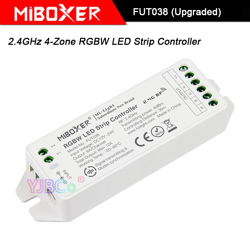 Miboxer 2.4GHz 4-Zone RGBW LED Strip Light Controller,FUT038 (Upgraded) DC12V~24V RGBW Led Lamp Tape Dimmer