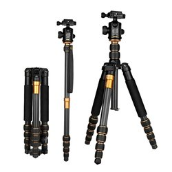 Q666C Portable Carbon Fiber Tripod Traveling Tripod For Camera Ball Head Digital Camera Tripod 5-section Center Column