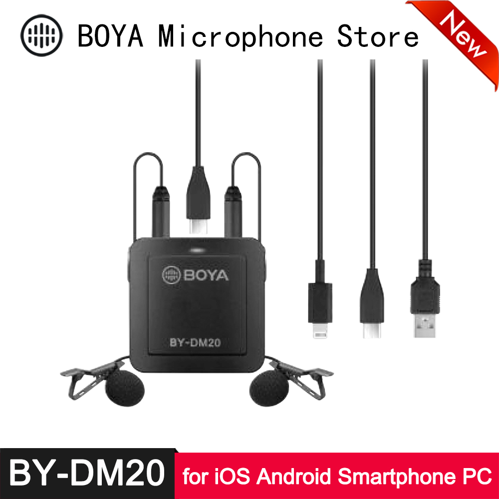 Boya By Dm20 Dual Lavalier Microphone Kit For Iphone Lighting