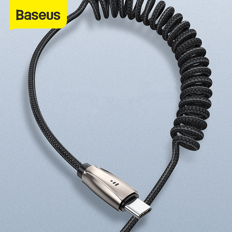 Baseus USB Type C Cable LED Cable Type-C ForHuawei P30 Samsung S9 S10 Fast Charging Cable Car Cable Retractable USB Wire Cord