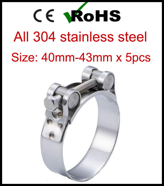 43mm  ALL STAINLESS STEEL HEAVY DUTY T-BOLT HOSE CLAMPS  17mm