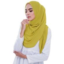 PLAIN Bubble Chiffon ฮิญาบผ้าคลุมไหล่ผ้าพันคอผู้หญิง 2020 สีทึบยาว Shawls และ Wraps มุสลิม Hijabs ผ้าพันคอผู้หญิง Foulard Femme