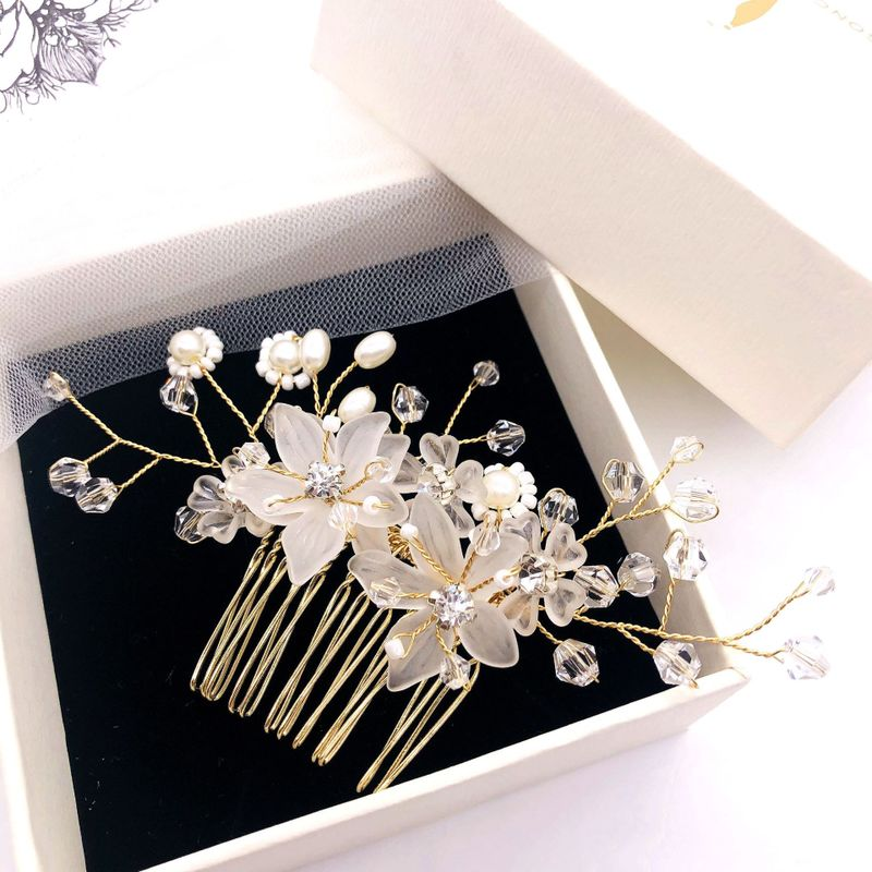 hair manual bead frosted crystal flowers comb wedding dress accessories bridal ornaments tiara barrette H028
