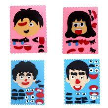 Expressões faciais diy feltro tecido artesanal adesivos brinquedos para crianças mudança de emoção quebra cabeça auxiliares de ensino crianças brinquedos educativos