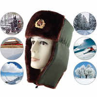 2019 New style Russian Army Military Hats Pilot Hat Police Hat Winter Men Snow Cap with Earmuffs soft   for men 08