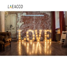 Laeacco Old Rural House Brick Wall Love Bulb Sofa Floor Child Portrait Interior Photo Backgrounds Backdrops Studio