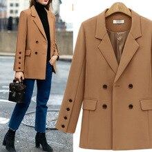 Fashion Women's Blazer New Wild Female Loose Double Breathable Coats Mid-Length