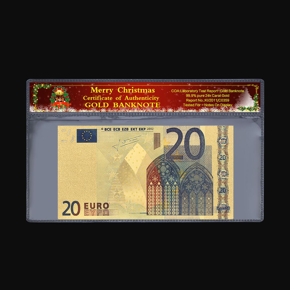 Collectible <font><b>Euro</b></font> Commemorative Coin <font><b>20</b></font> <font><b>Euro</b></font> Old <font><b>Banknote</b></font> 24k Gold Gold Plated Christmas Plastic Frame Paper Gift 2 Pieces /Set image