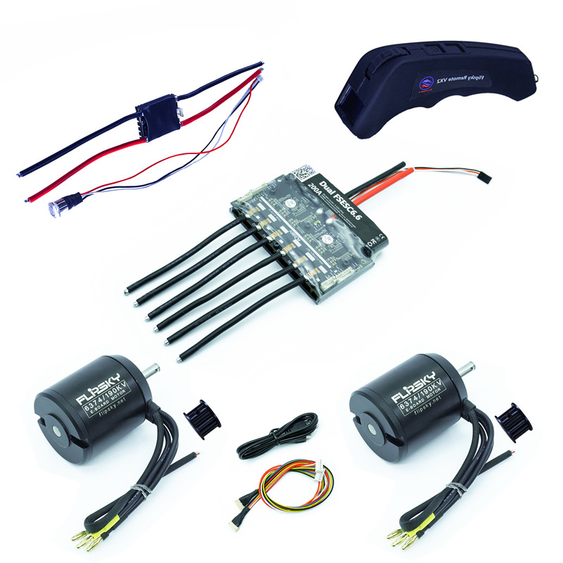 Group D10 Electric Skateboard Kit (Includes Dual FSESC6.6 Big Size And BLDC 6374 Motors)