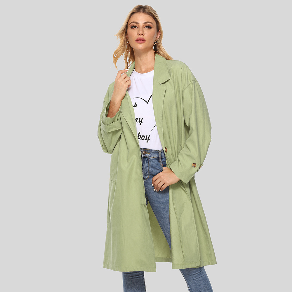 Fall Fashion Coat Solid Color Suit Collar Button Long Sleeve Windbreaker Khaki Simple Large Women Mid-Length Trench with Pockets