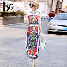 цена Baogarret Milan Catwalk Runway Designer Dress Women's High Quality Sleeveless Luxurious Beading Cards Printing Party Midi Dress онлайн в 2017 году