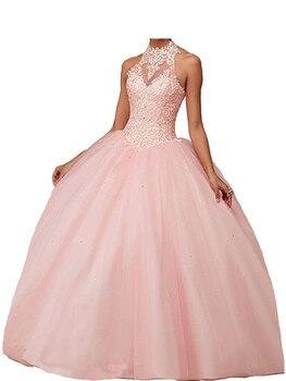 CharmingBridal Beaded Sweet 16 Dresses Sleeveless Halter Neck Basque Waistline Prom Graduation Ball Gown Quinceanera