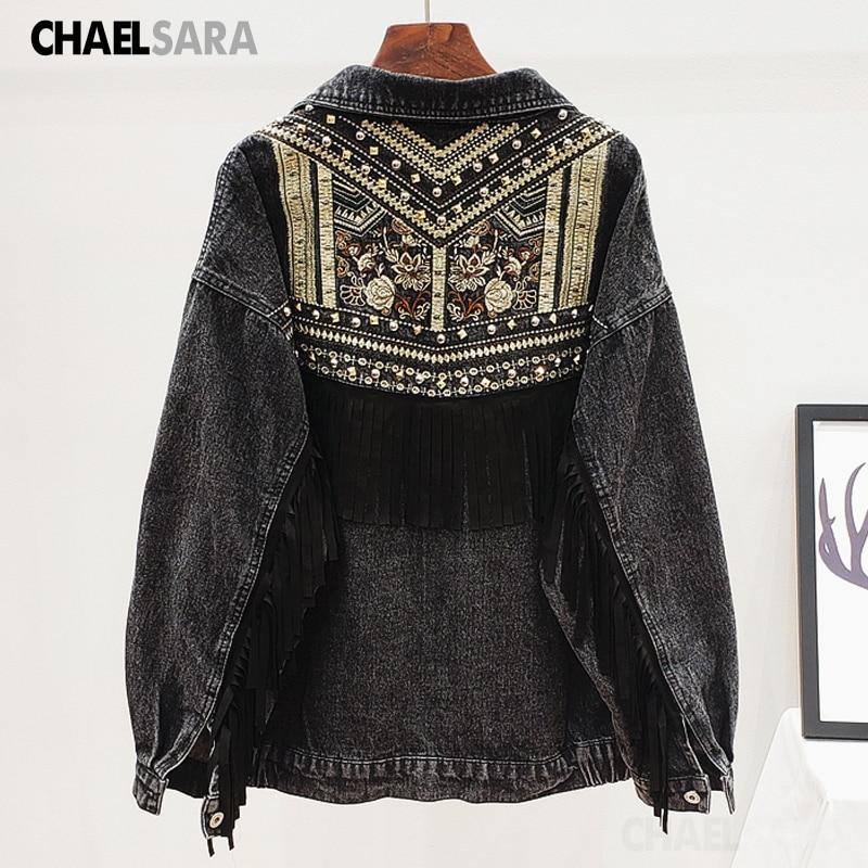 Korean Beading Embroidery Denim Jacket Women Elegant Tassel Patch Veste Femme Big size Loose Chaquetas Mujer Jeans Jacket Female