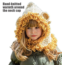 2019 new autumn and winter animal hats awning lion handmade hat children warm scarf neck