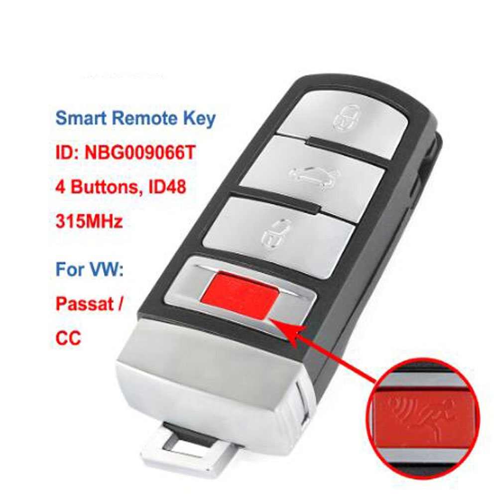 Smart Remote  Key Fob 3+1 Buttons 315MHz ID48 For VW Passat 2006 2007 2008 2009 2010 2011 2012 2013 For CC, NBG009066T