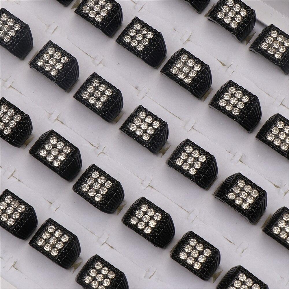 Модные квадратные черные металлические кольца со стразами 20 шт./лот для мужчин и женщин, ювелирные изделия