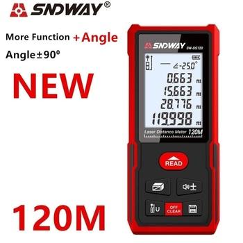 SNDWAY odległościomierz laserowy 120m 100M 70M elektroniczna ruletka cyfrowa linijka trena taśma miernicza laserowa dalmierz tanie i dobre opinie Rohs CN (pochodzenie) 105x50x25mm SW-T4S SW-DS50 SW-DS120 SW-50G SW-100G H-D510A H-D120A SW-50G SW-100G ±2mm Zasilany baterią