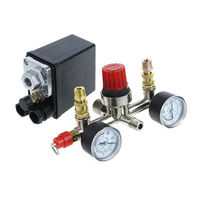 Durable Air Compressor Pressure Control Switch Valve Manifold Regulator W/ Gauges Tool Parts