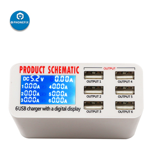 Image 5 - Multiport usb Hub Intelligente Schnelle Ladestation Smart Digital Display 6 Port USB Ladegerät Hub für Smartphone Schnelle Lade